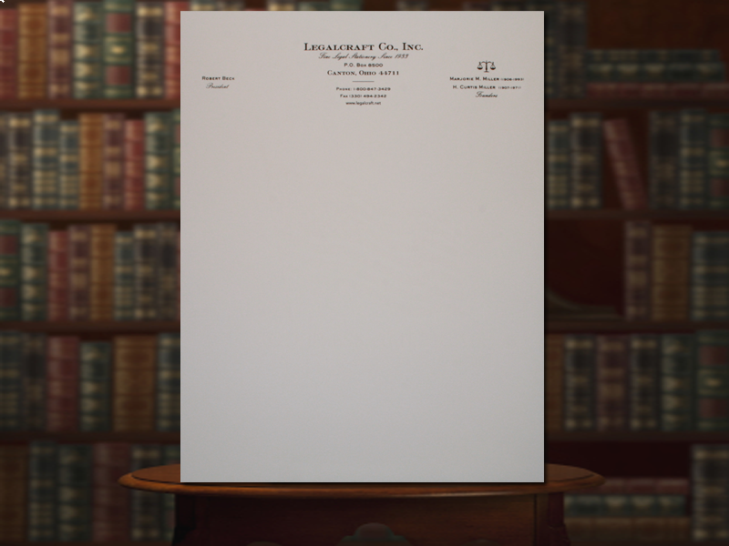 Engraved Letterhead Legalcraft Bond Baronial Ivory Laid Finish 24lb